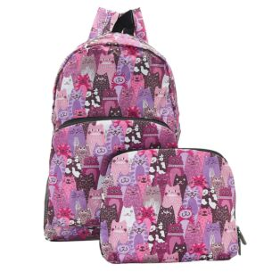Purple Stacking Cats Recycled Foldaway Backpack