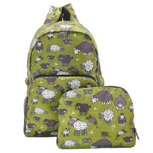 Eco Chic Green Sheep Foldaway Backpack