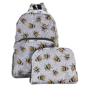 Grey Bumblebees Recycled Foldaway Backpack