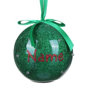 Personalised 'Your Name in Lights' Green LED Bauble
