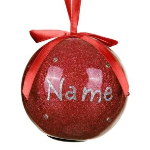 Personalised 'Your Name in Lights' Plain Red LED Christmas Bauble