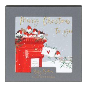 'Robins & Post-box' Box of 8 Christmas Cards