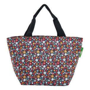 Black Ditsy Flowers Recycled Insulated Lunch Bag