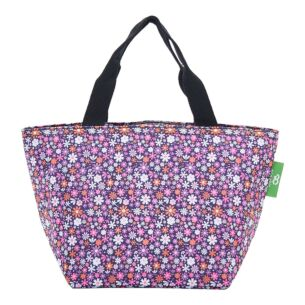 Eco Chic Purple Ditsy Flowers Insulated Lunch Bag