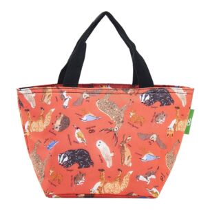 Eco Chic Red Woodland Animals Insulated Lunch Bag