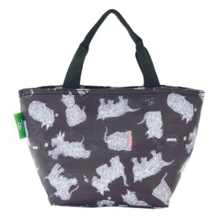 Black Scatty Scotty Dogs Recycled Insulated Lunch Bag