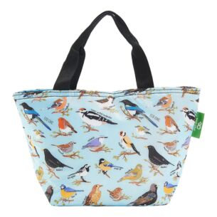 Eco Chic Blue Wild Birds Insulated Lunch Bag