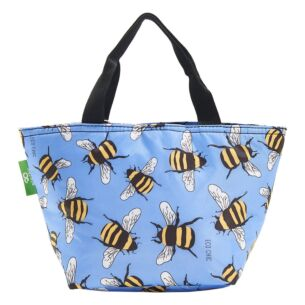 Eco Chic Blue Bumblebees Insulated Lunch Bag