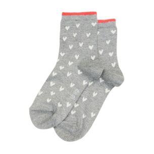 Grey & White Heart Socks