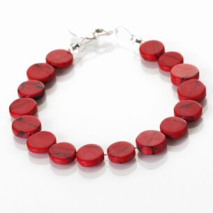 Carrie Elspeth Red Mosaic Coins Bracelet