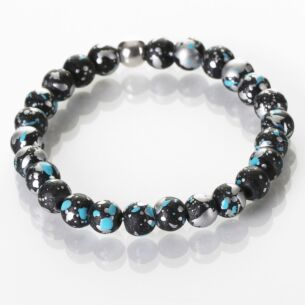 Blue and Black Shimmer Marble Bracelet