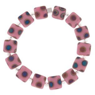 Pink Dotty Squares Bracelet