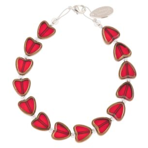 Red Gold Edged Hearts Bracelet