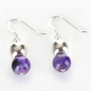 Purple Marbled Earrings