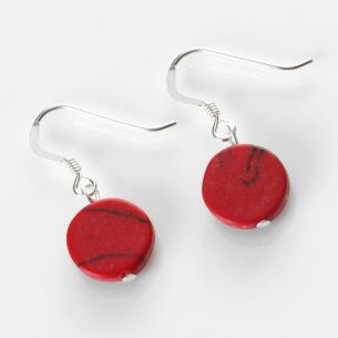 Red Mosaic Coins Earrings