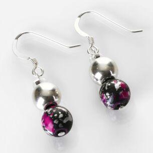 Carrie Elspeth Pink and Black Shimmer Marble Earrings