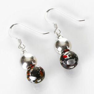 Red and Black Shimmer Marble Earrings