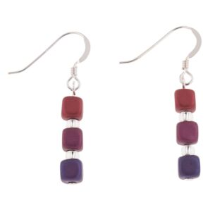 Purples Satin Cubes Earrings