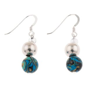 Turquoise Zebra Marbled Earrings