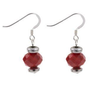 Red Faceted Crystal Earrings