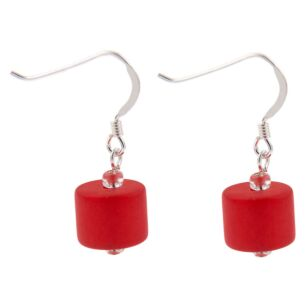 Red Frosted Earrings