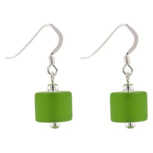 Green Frosted Earrings