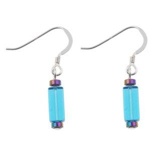 Turquoise Glass Rectangle Earrings