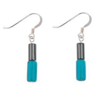 Teal Hematite Tubes Earrings