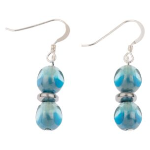 Teal Notches Earrings