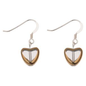 Clear Gold Edged Hearts Earrings