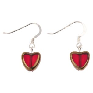 Red Gold Edged Hearts Earrings