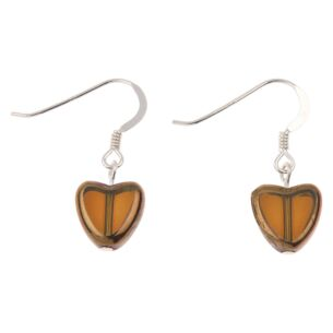 Sepia Gold Edged Hearts Earrings