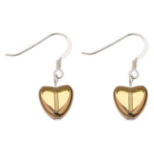 Topaz Gold Edged Hearts Earrings