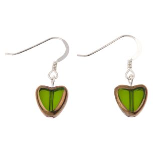Green Gold Edged Hearts Earrings