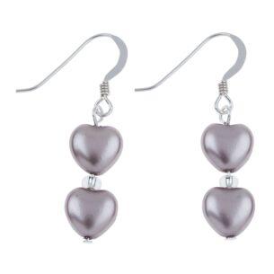 Dusky Grey Pearl Hearts Earrings