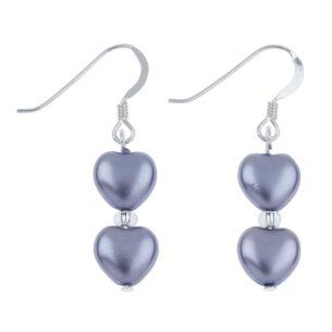 Lilac Pearl Hearts Earrings