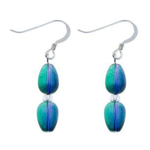 Purple/Green Peardrops Earrings