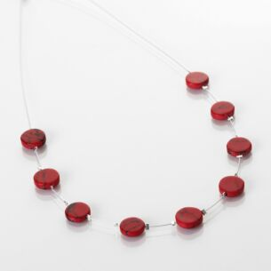 Red Mosaic Coins Necklace