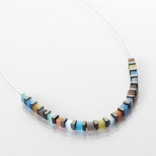 Night-time Cats Eye Cubes Links Necklace