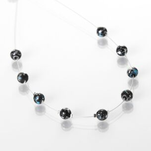 Blue and Black Shimmer Marble Necklace