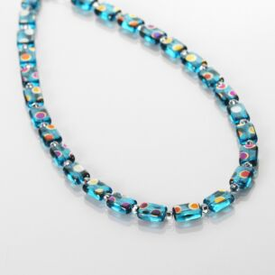 Turquoise Dotty Rectangle Full Necklace