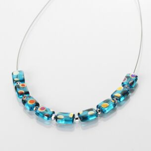 Carrie Elspeth Turquoise Dotty Rectangle Links Necklace