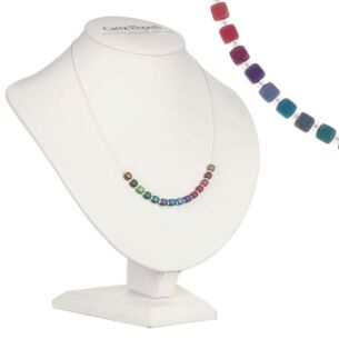 Rainbow Satin Cubes Links Necklace