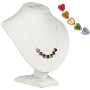 Multi Gold Edged Hearts Necklace