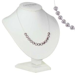 Dusky Grey Pearl Hearts Necklace