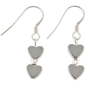 Mini Hematite Heart Earrings