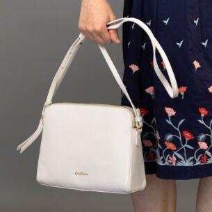 Cream Maltby Leather Cross Body Bag