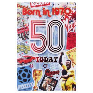 Down Memory Lane Blue '50 Today' Card