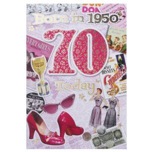 Down Memory Lane Pink '70 Today' Card