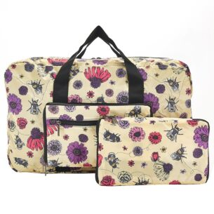 Eco Chic Beige Flowers & Bees Foldaway Holdall Bag